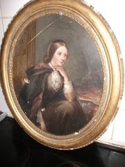 Antique oil painting of Olivia Barrington